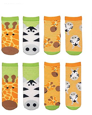 FlapJackKids Set 4 Pack of Socks, Giraffe and Zebra - Orange/Green Socks