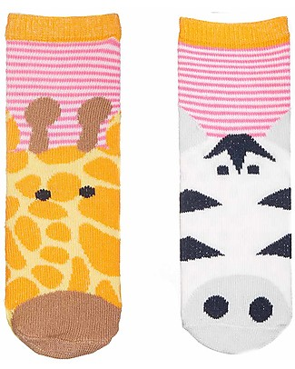 FlapJackKids Set 4 Pack of Socks, Giraffe and Zebra - Orange/Pink Socks