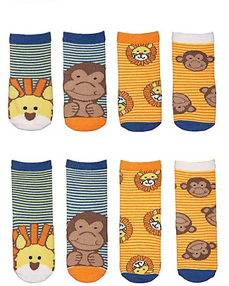 FlapJackKids Set 4 Pack of Socks, Lion and Monkey - Orange/Blue Socks