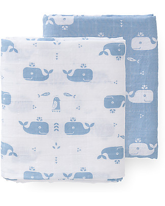 Fresk Blue Whale Swaddles, 2-pack Set, 120x120 cm – Organic Cotton Muslin Swaddles