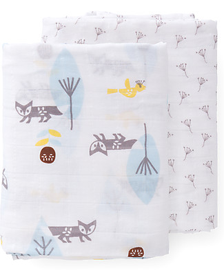 Fresk Dandelions-Fox Swaddles, 2-pack Set, 120x120 cm - Organic Cotton Muslin Swaddles