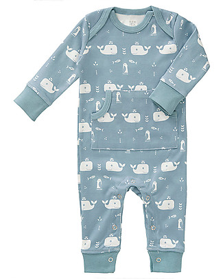 Fresk Footless Long Sleeved Bodysuit, Blue Whale – Organic Cotton Pyjamas