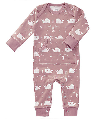 Fresk Footless Long Sleeved Bodysuit, Pink Whale – Organic Cotton Pyjamas