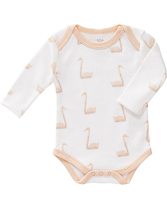 Fresk Long Sleeved Bodysuit Swan, Peach- 100% organic cotton Short Sleeves Bodies