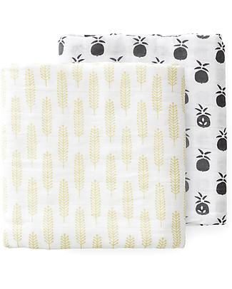 Fresk Pineapple Ears Swaddles, 2-pack Set, 120x120 cm - Organic Cotton Muslin Swaddles