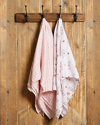 Fresk Pink Elephant Swaddles, 2-pack Set, 120x120 cm – Organic Cotton Muslin Swaddles