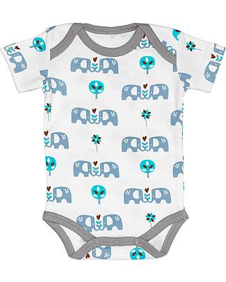 Fresk Short Sleeved Elephant Bodysuit, Light Blue - 100% organic cotton Short Sleeves Bodies