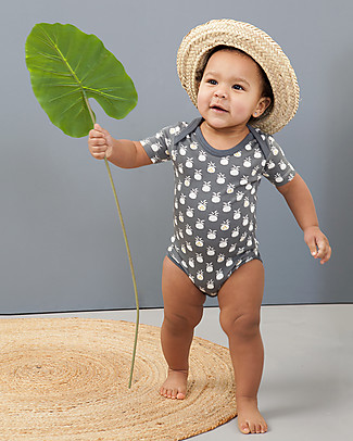 Fresk Short Sleeved Pineapple Bodysuit, Anthracite - 100% organic cotton Short Sleeves Bodies