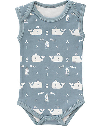 Fresk Sleeveless Whale Bodysuit, Blue - Pure organic cotton Short Sleeves Bodies