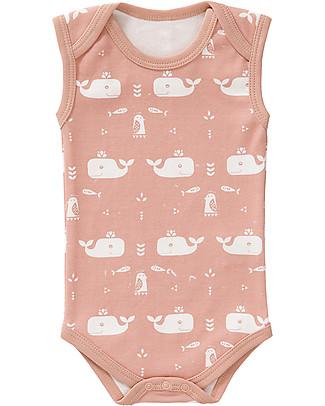 Fresk Sleeveless Whale Bodysuit, Pink - Pure organic cotton Short Sleeves Bodies
