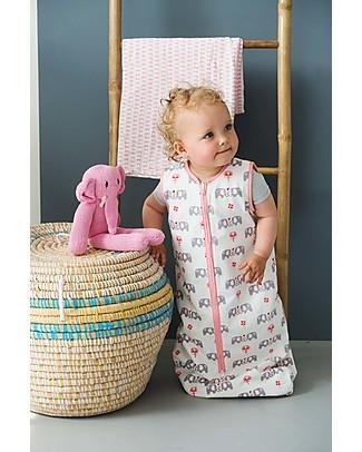 Fresk Summer Sleeping Bag, Pink Elephant, 6-12m - Double layer of organic muslin cotton Light Sleeping Bags