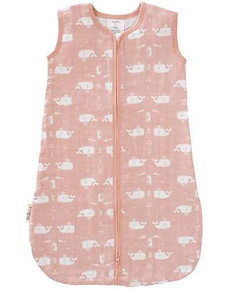 Fresk Summer Sleeping Bag, Pink with Whales Print, 6-12m - Double layer of organic muslin cotton Light Sleeping Bags