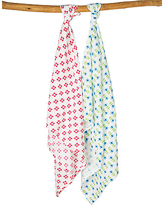 Frugi 2 Pack Muslin Squares, Button Flower/Tulips - 100% cotton muslin, 65 x 65 cm Muslin Cloths