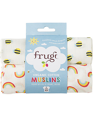 Frugi 2 Pack Muslin Squares, Rainbow/Bees - 100% cotton muslin, 65 x 65 cm Muslin Cloths