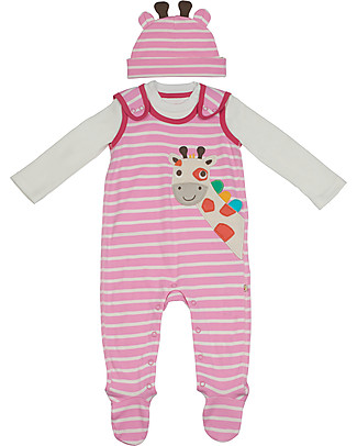 Frugi 3-pieces Snuggle Baby Gift Set: Dungarees, Top, Hat - Giraffe - Organic Cotton Long Sleeves Bodies