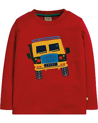 Frugi Adventure Applique Top, Tango Red/Truck - 100% organic cotton Long Sleeves Tops