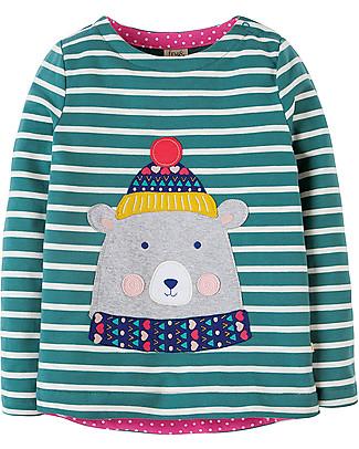 Frugi Alana Cosy Applique Top, Bear - Organic cotton Long Sleeves Tops