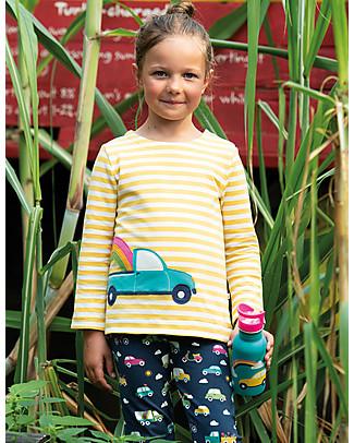 Frugi Alana Cosy Applique Top, Bumble Bee Breton/Truck - Organic cotton Long Sleeves Tops