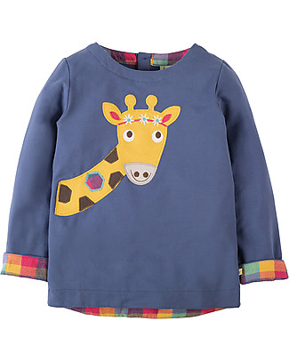 Frugi Alana, Long Sleeved Top with Applique, Blue Lake/Giraffe - Organic cotton Evening Tops