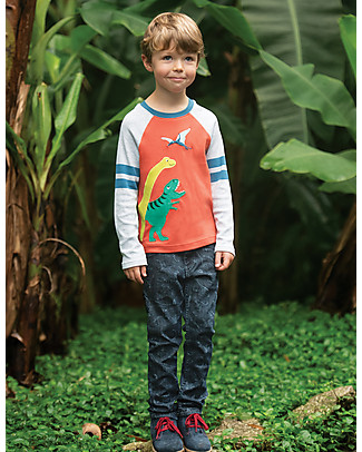 Frugi Alfie Applique Top, Dinos/Paprika - Organic cotton Long Sleeves Tops