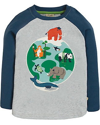 Frugi Alfie Applique Top, Grey Marl/Globe - Organic cotton Long Sleeves Tops