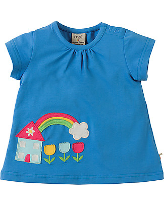Frugi Amber Applique Girl's Top, Sail Blue/House - 100% organic cotton Evening Tops