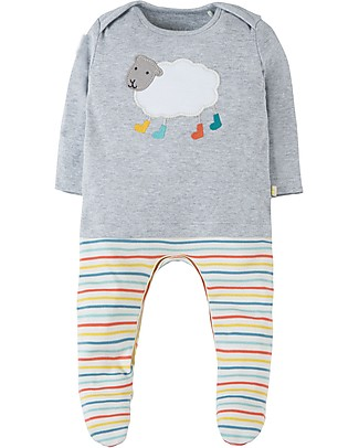 Frugi Arlo Outfit Babygrow, Grey Marl/Sheep - 100% organic cotton Babygrows