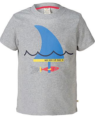 Frugi Atlantic Printed T-shirt, Grey Marl/Shark Fin - 100% organic cotton T-Shirts And Vests