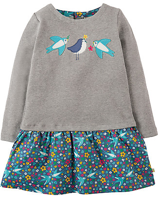 Frugi Aurora Dress, 2-in-1 Top and Skirt, Grey/Flowers - Organic cotton Dresses