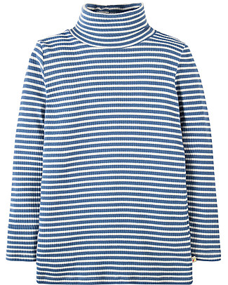 Frugi Ava, Long Sleeves Roll Neck Top, White/Blue - 100% organic cotton rib Long Sleeves Tops