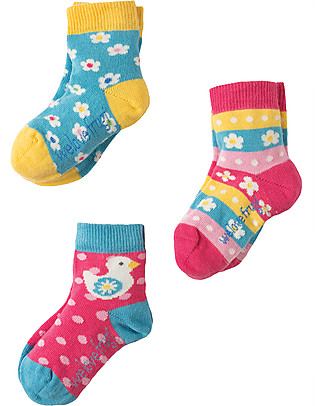 Frugi Baby Little Socks 3 Pack, Flower - Organic Cotton Socks