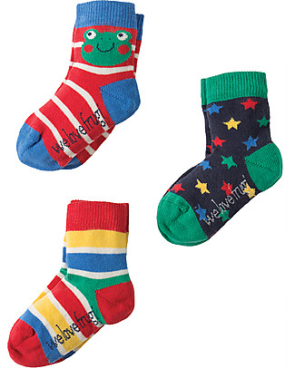 Frugi Baby Little Socks 3 Pack, Frog - Organic Cotton Socks