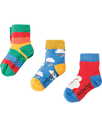 Frugi Baby Little Socks 3 Pack, Sheep - Organic Cotton Socks