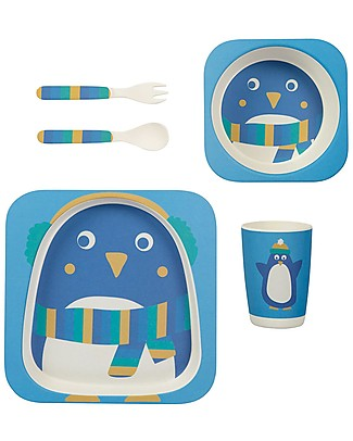 Frugi Bamboo Dinner Set, Penguin - 5 pieces Meal Sets