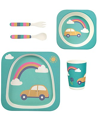 Frugi Bamboo Dinner Set, Rainbow - 5 pieces Meal Sets