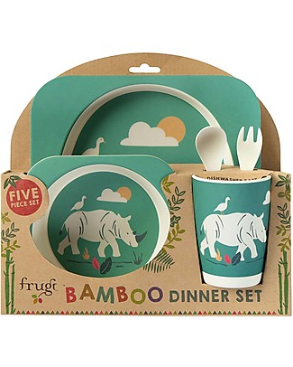 Frugi Bamboo Dinner Set, Rhino - 5 pieces Meal Sets