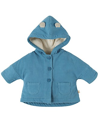 Frugi Bear Cub Cord Coat, Stone Blue - organic cotton Coats