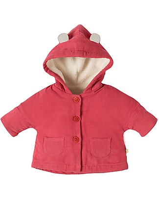 Frugi Bear Cub Cord Coat, Vintage Rose- organic cotton Jackets