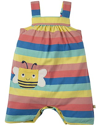 Frugi Beau Beach Dungaree, Bright Rainbow Stripe/Bee - Jersey Organic Cotton Dungarees