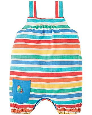 Frugi Beau Beach Dungaree, Rainbow Candy Stripe - Jersey Organic Cotton Dungarees