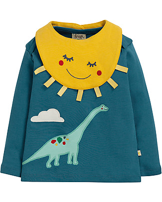 Frugi Bibs and Bobs Top and Bib Set, Steely Blue/Dino - 100% Organic Cotton Snap Bibs