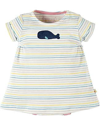 Frugi Bitsy Body Dress 2 in 1 - Tiny Baby - Rainbow Stripe/Whale - 100% Organic cotton Short Sleeves Bodies