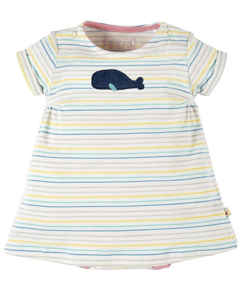 5e77b3721 Frugi Bitsy Body Dress 2 in 1 - Tiny Baby - Rainbow Stripe/Whale ...