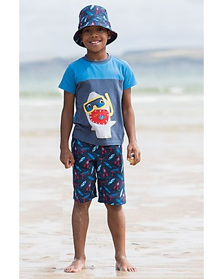 Frugi Board Shorts Hang Ten, Blue - 100% Recycled fabric Swimming Trunks