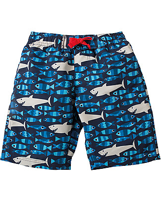 Frugi Board Shorts, Sneaky Sharks - 100% recycled Swimming Trunks
