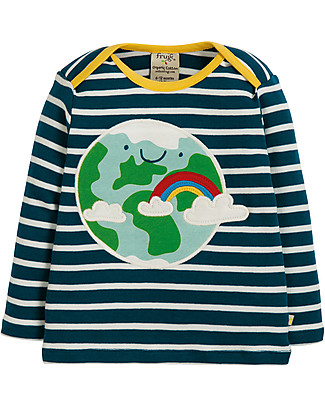 Frugi Bobby Applique Top with Long Sleeves, Earth - 100% organic cotton Long Sleeves Tops
