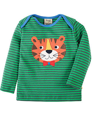 Frugi Bobby Applique Top with Long Sleeves, Green Stripe/Tiger - 100% organic cotton Long Sleeves Tops