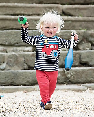 Frugi Bobby Applique Top with Long Sleeves, Navy Stripe/Tractor - 100% organic cotton Long Sleeves Tops