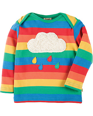 Frugi Bobby Applique Top with Long Sleeves, Rainbow/Cloud - 100% organic cotton Long Sleeves Tops
