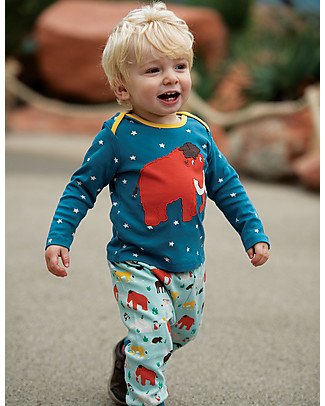Frugi Bobby Applique Top with Long Sleeves, Steely Blue Star/Mammoth - 100% organic cotton Long Sleeves Tops
